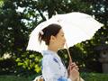 日傘をさす浴衣の女性
