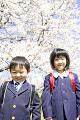 桜の前に立つ小学生男女