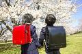 小学生と桜のイメージ
