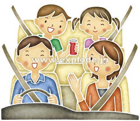 ドライブする4人家族 ▼この写真素材が収録されている素材集  ドライブする4人家族
