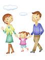 子供と散歩する夫婦