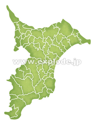 千葉県の境界線入り地図 ▼この写真素材が収録されている素材集  千葉県の境界線入り地図