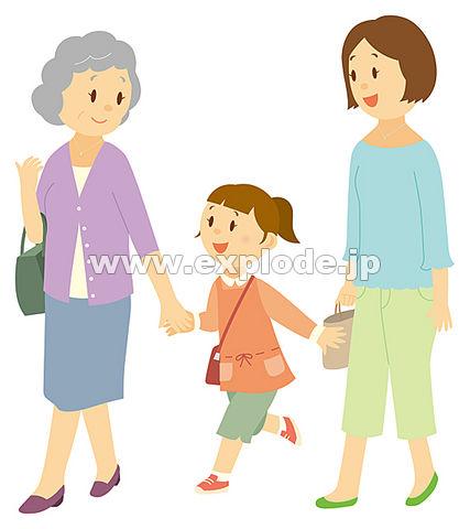 外出する三世代家族 外出する三世代家族  イラスト村 Vol.53 ファミリー三世代