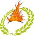 聖火台で燃える聖火と月桂冠
