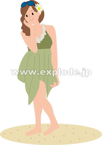 水着とパレオを着た若い女性