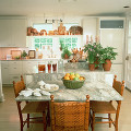 部屋 テーブル イス 窓 観葉植物 ダイニング 果物 皿 シンク