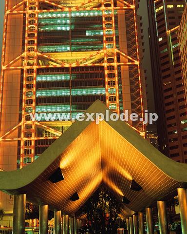 31:香港銀行 ニューイヤーイルミネーション 街 お正月 ビル 夜景