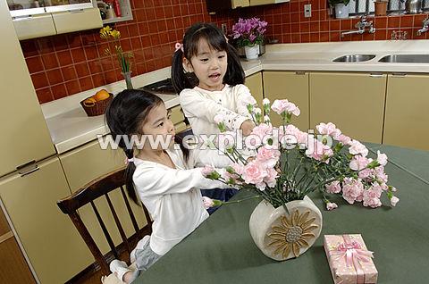 001:母の日のカーネーションと少女